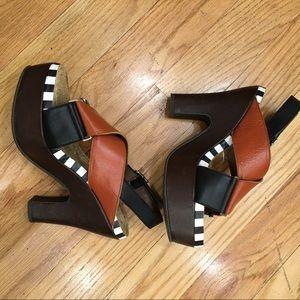 STUNNING Marni leather platform sandals w stripes!